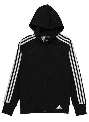 adidas Kız Çocuk YG MH 3S FZ HD Sweatshirt DV0316 Siyah